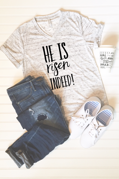He is Risen Indeed Easter Graphic Tee - Libby and Dot Collections