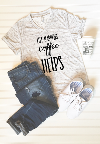 Life Happens Coffee Helps Graphic Tee - Libby and Dot Collections