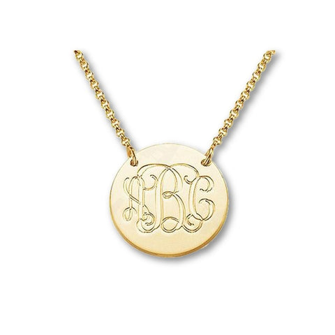 Gold Engraved Monogram Necklace - Libby and Dot Collections