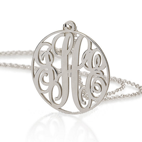 Circle Script Monogram Necklace - Libby and Dot Collections