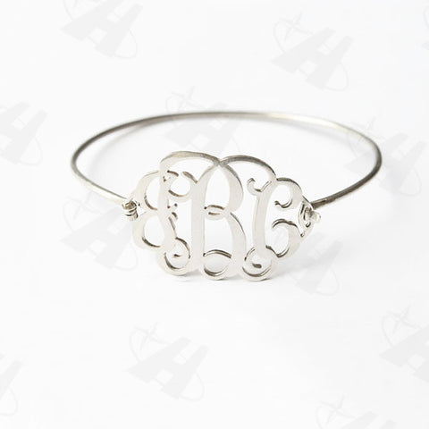 Silver Plated Monogram Bangle  Bracelet - Libby and Dot Collections