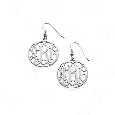 Custom Monogram Initial Dangle Earrings Silver Earrings - Libby and Dot Collections