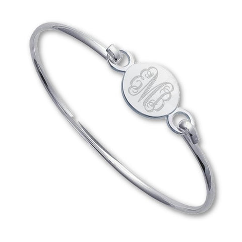Monogram Bracelet Engraved Round Bracelets Bangle - Libby and Dot Collections