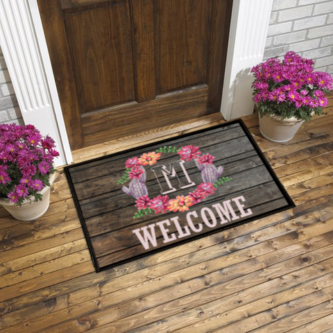 Monogrammed Succulent Doormat Rug - Multiple Sizes Available - Libby and Dot Collections