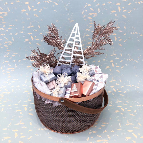 Rose Gold Christmas Metal Basket
