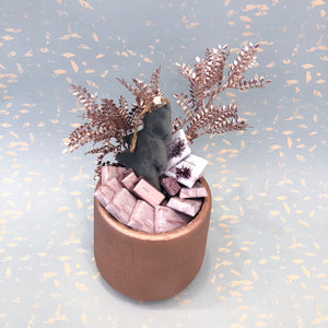 Round Rose Gold Christmas Pot