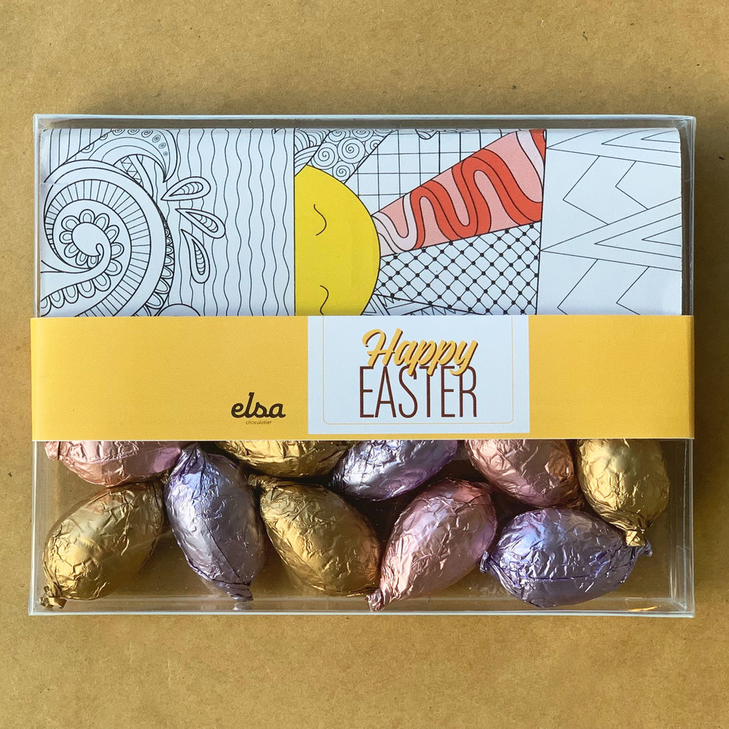 Easter Coloring Chocolate Tablet with Eggs Box