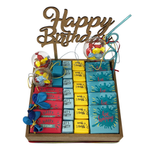 Load image into Gallery viewer, colored birthday chocolate hamper gift
