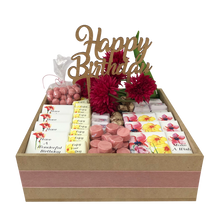Load image into Gallery viewer, floral chocolate birthday wooden hamper with happy birthday cake topper