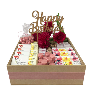 floral chocolate birthday wooden hamper with happy birthday cake topper