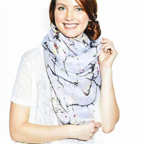Bird and Floral Tree Scarf - 2 Colors