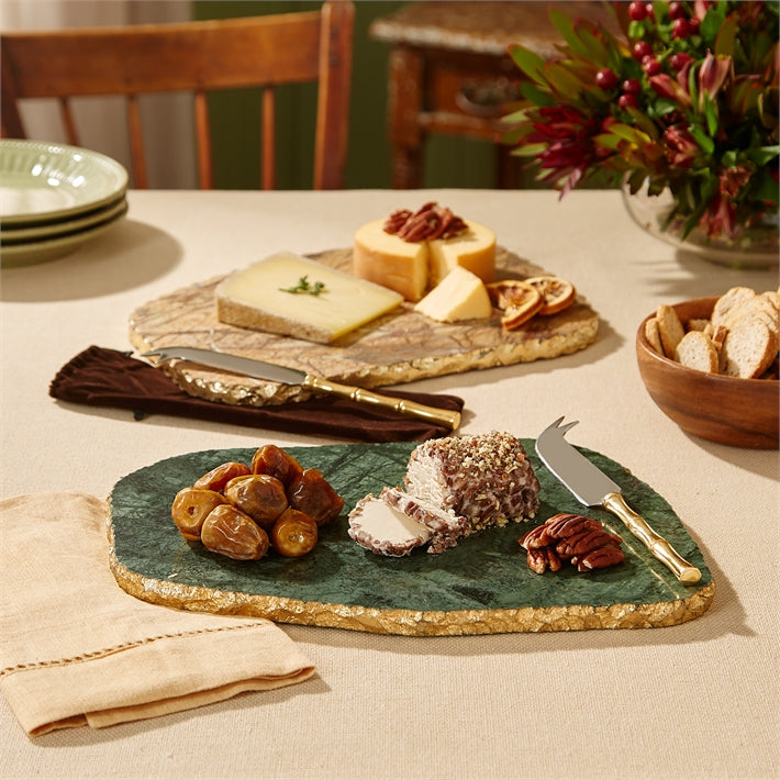 Marble Cheese Plate with Gold Leaf Edge \u0026 Knife & Marble Cheese Plate with Gold Leaf Edge \u0026 Knife \u2013 Driehaus Museum Store