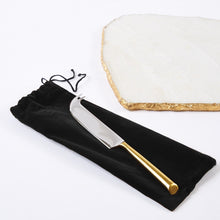White Marble Cheese Set with Metallic Edging & Knife in Suede Pouch