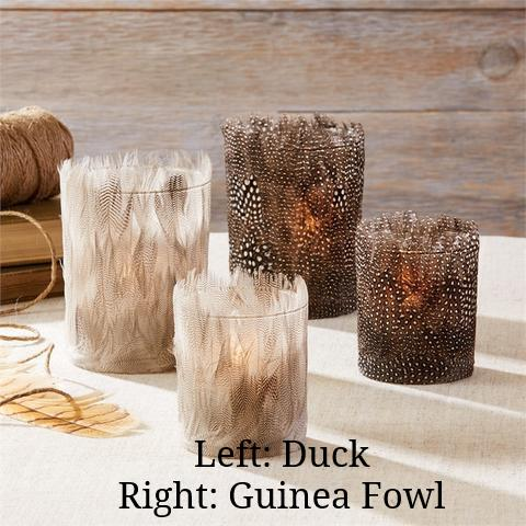 Fowl & Duck Feather Tealight Candle Holders - Set Of 2