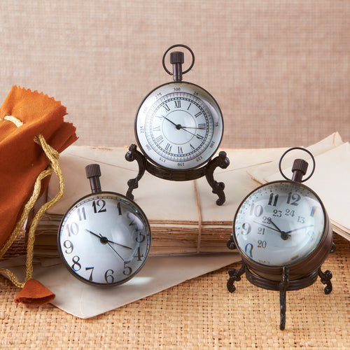 Abbey Antique Ball Clock on Brass Stand in Gift Pouch- Quartz Movement