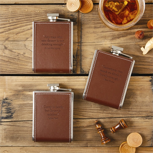 Embossed Leather Flask - Assorted 3 Quotes