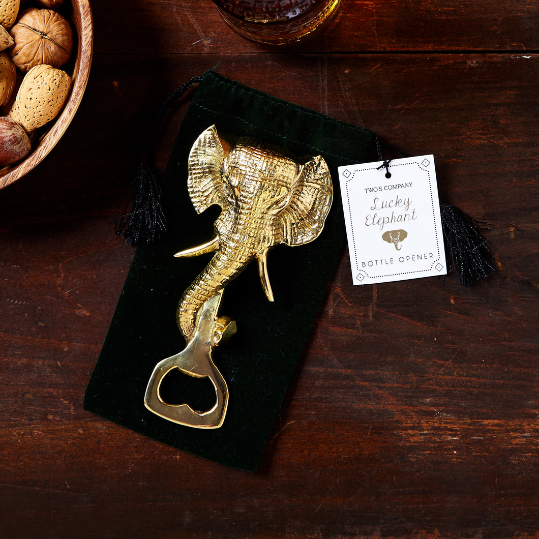 Lucky Elephant Bottle Opener in Gift Pouch