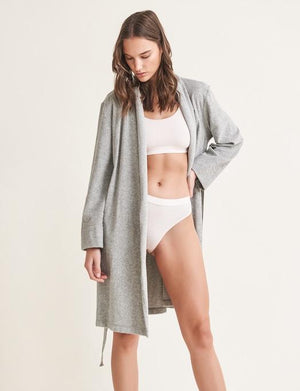 Skin French Terry Robe with Attached Belt SLEEPWEAR - ROBE - ROBE 2 ($101-$200) SKIN HEATHER GREY 3