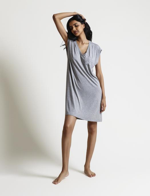 Skin Loungewear Louella Caftan SLEEPWEAR - SLEEPSHIRT - SLEEPSHIRT 1 (>$100) SKIN HEATHER GREY 4