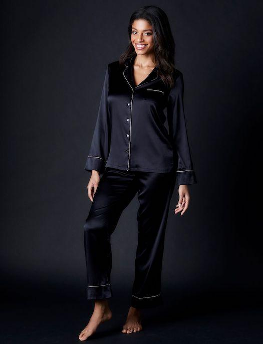 Journelle Marlene Silk Pajama Set SLEEPWEAR - PAJAMAS - PAJAMAS 3 ($201-$300) Journelle BLACK XL