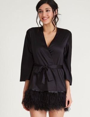 The Rya Collection Swan Cover Up SLEEPWEAR - ROBE - ROBE 2 ($101-$200) Rya Collection BLACK XS/S