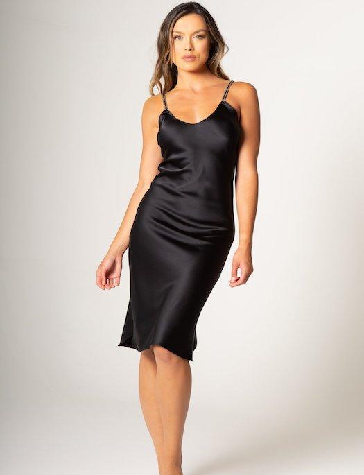 Avery Rose Madison Long Slip Dress with Embellished Straps SLEEPWEAR - GOWN - GOWN 4 ($301-$500) Avery Rose ONYX-LEM LG