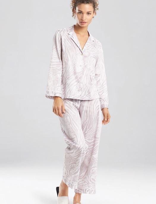 Natori Lingerie Zebra Cotton Sateen Pajama Set