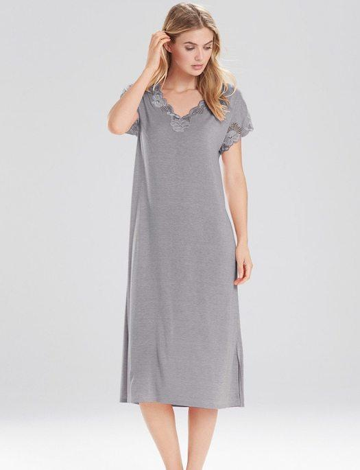 Natori Zen Floral T-Shirt Gown SLEEPWEAR - GOWN - REP Natori Lingerie HEATHER SM