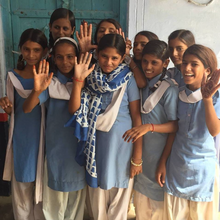 Image of girls in India who receive education