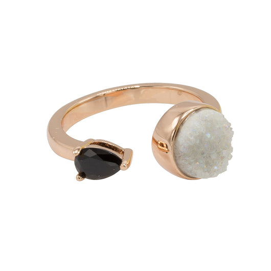 Yvette Druzy Ring - Rose Gold with White Druzy