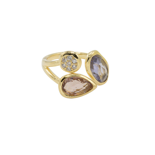 Amelia Ring - Gold with Lavender + Light Amethyst