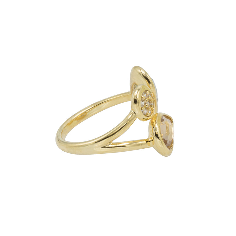 Amelia Ring - Gold with  Light Azore + Silk