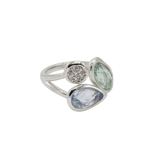 Amelia Ring - Rhodium with Azore + Light Sapphire