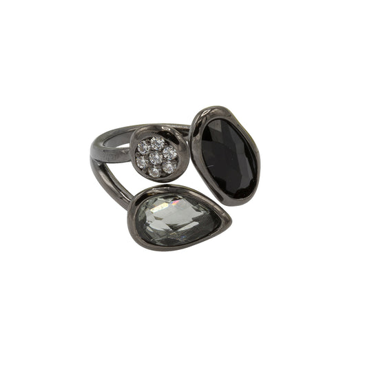 Amelia Ring - Black Rhodium with Jet +Black