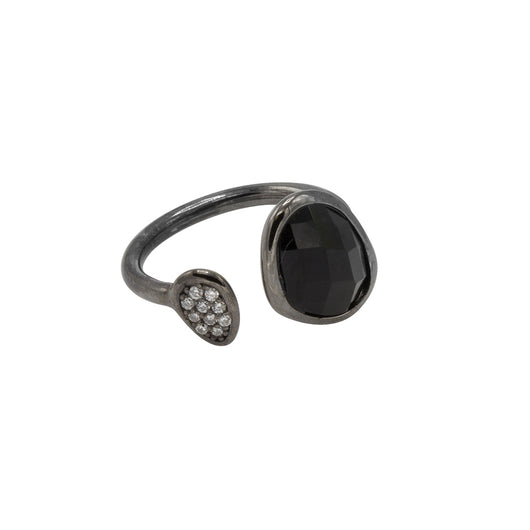 Amanda Ring - Black Rhodium with Jet