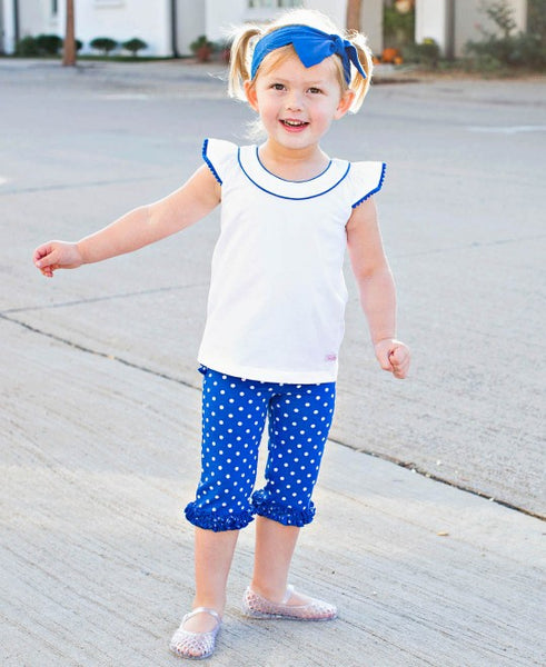 RuffleButts Sapphire Polka Dots Everyday Ruffle Capri Leggings