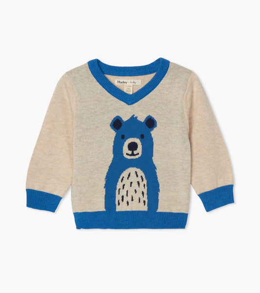 Hatley Cheerful Bear V-Neck Baby Sweater