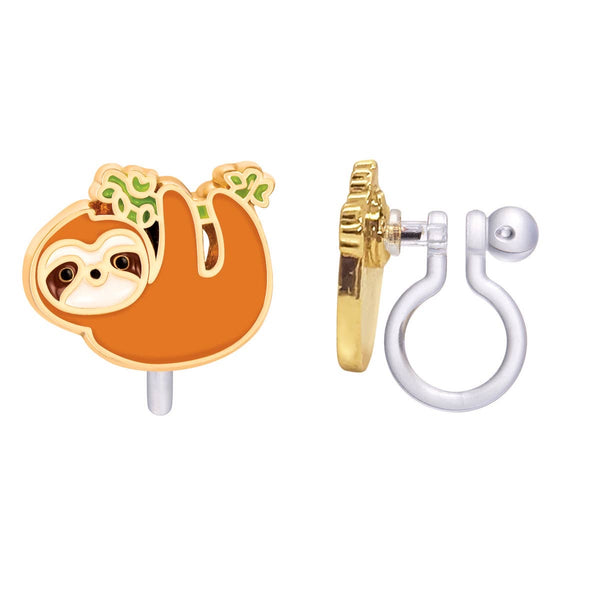Girl Nation Playful Sloth Cutie Clip-On Earrings