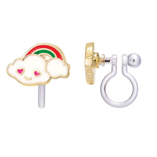 Girl Nation Cloud Loves Rainbow Cutie Clip-On Earrings