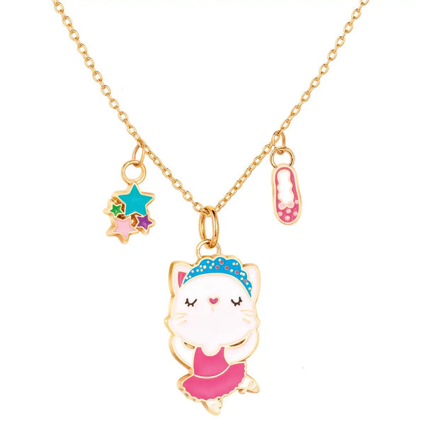 Girl Nation Ballerina Kitty Charming Whimsy Necklace