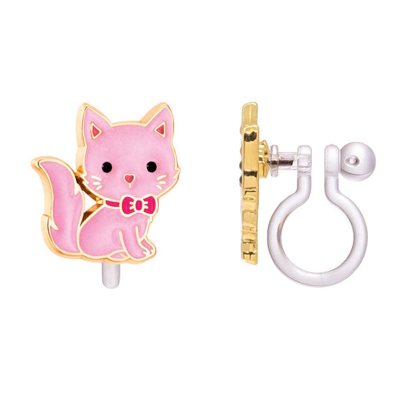Girl Nation Pink Kitty Cutie Clip-On Earrings