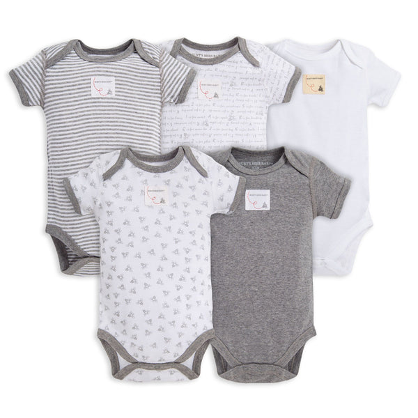 Burt's Bees Baby Set of 5 Bodysuits - Heather Grey
