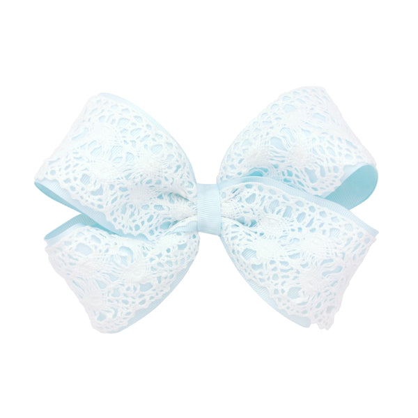 Wee Ones King Crochet Overlay Bow - Blue Vapor