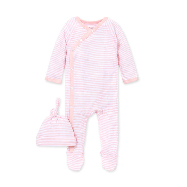 Burt's Bees Baby Classic Stripe Footed Kimono Jumpsuit & Top Knot Hat Set