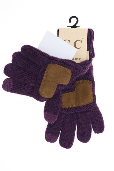 CC Beanie Kids Solid Cable Knit Gloves