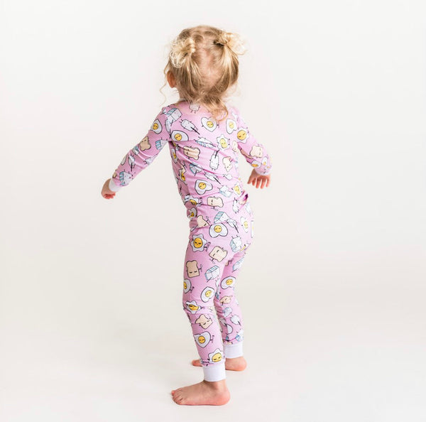 Little Sleepies Bamboo Viscose Two-Piece Pajama Set - Pink Breakfast Buddies