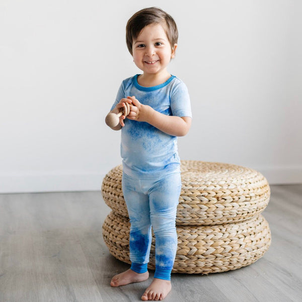 Little Sleepies Bamboo Viscose Two-Piece Short Sleeve Pajama Set - Blue Watercolor