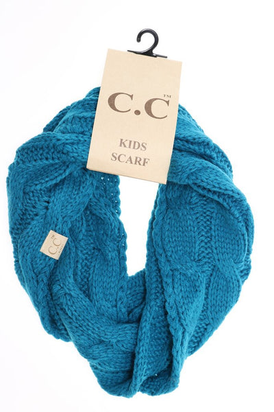 CC Beanie Kids Solid Cable Knit Infinity Scarf