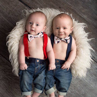 Mini Swag Suspenders & Bow Tie Set - Baseball