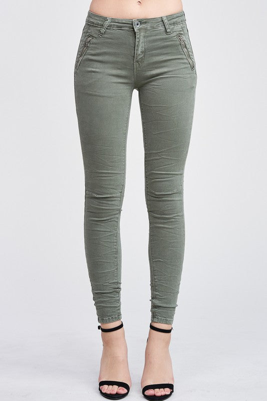 Olive Green Crinkle Denim Pants
